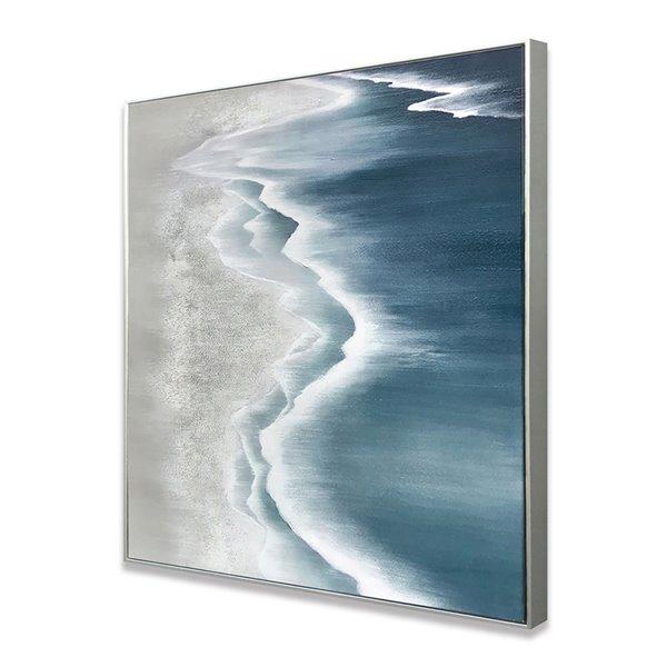 Peinture de paysage avec cadre en plastique argenté 32 po x 32 po par Gild Design House