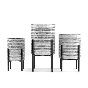 Jardinière en métal blanc 14 po x 26 po par Gild Design House, ens. de 3