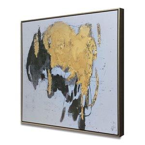 Peinture abstraite avec cadre en plastique noir 30 po x 30 po par Gild Design House