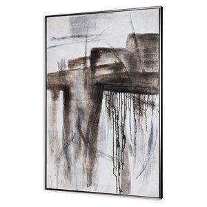 Peinture abstraite faite à la main avec cadre en plastique noir 48 po x 33 po par Gild Design House