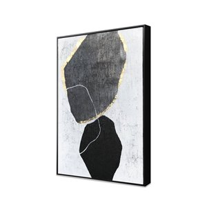 Peinture Stoney Silhouettes abstraite faite à la main avec cadre en plastique noir 36 po x 24 po par Gild Design House