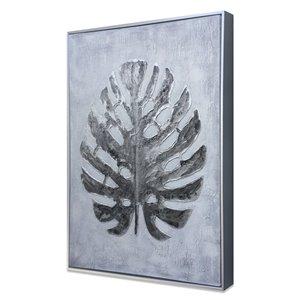 Peinture Silver Jungle botanique faite à la main avec cadre en plastique argenté 32 po x 24 po par Gild Design House