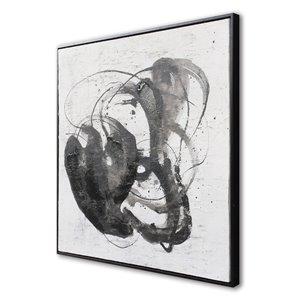 Peinture Abyss abstraite faite à la main avec cadre en plastique doré 30 po x 30 po par Gild Design House