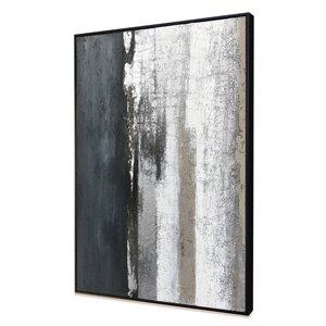 Peinture abstraite faite à la main avec cadre en plastique noir 40 po x 30 po par Gild Design House