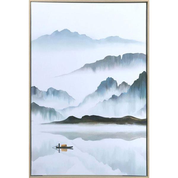 Peinture Misty de paysage avec cadre en plastique brun 36 po x 24 po par Gild Design House