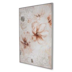 Peinture florale avec cadre en plastique blanc 48 po x 33 po par Gild Design House