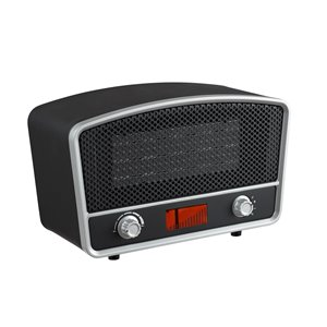 Modern Homes Retro Radio Look 1500 W Ceramic Compact Personal Indoor Electric Space Heater Thermostat