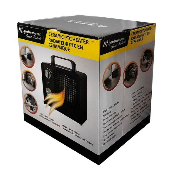 Chaufferette électrique apparence rétro compacte de 1500 W avec thermostat pour usage personnel intérieur par Modern Homes