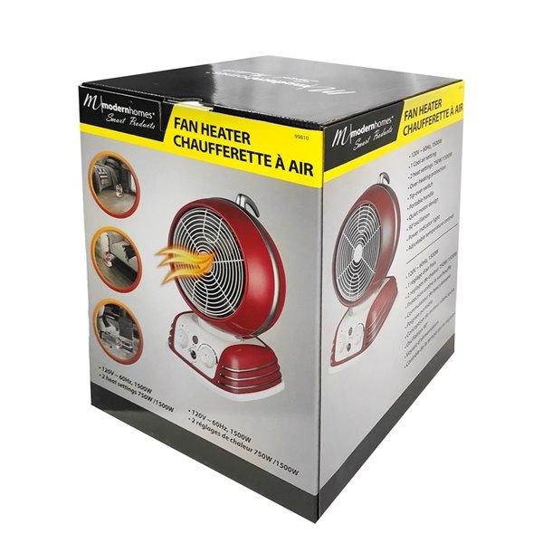 Chaufferette électrique ronde apparence rétro compacte de 1500 W avec thermostat pour usage personnel intérieur par Modern Ho