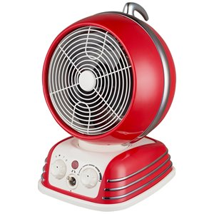 Modern Homes Retro Round Look 1500 W Heater Fan Compact Personal Indoor Electric Space Heater Thermostat