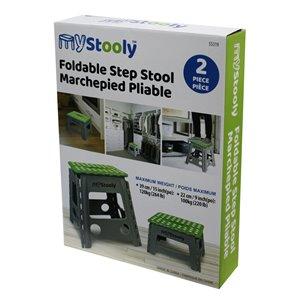 Escabeau pliable vert à 1 marche avec capacité de 220 lb par MyStooly, paquet de 2