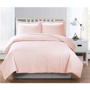 Ensemble de housse de couette rose très grand lit par Swift Home, 3 mcx