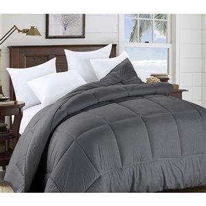Couette en polyester avec rembourrage en polyester gris uni, très grand lit, par Swift Home