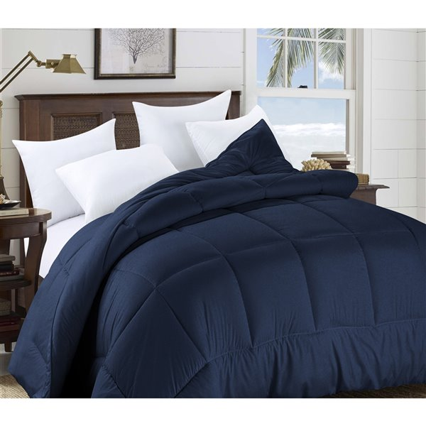 Swift Home Navy Solid Queen Comforter (Polyester with Polyester Fill)