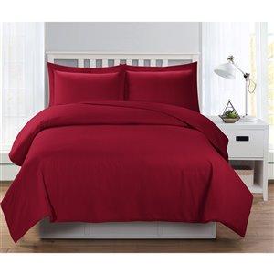 Ensemble de housse de couette rouge grand lit par Swift Home, 3 mcx