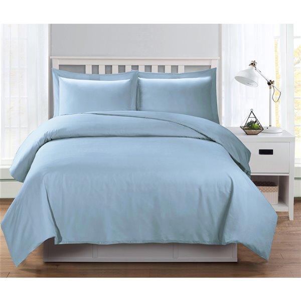 Ensemble de housse de couette bleu grand lit par Swift Home, 3 mcx