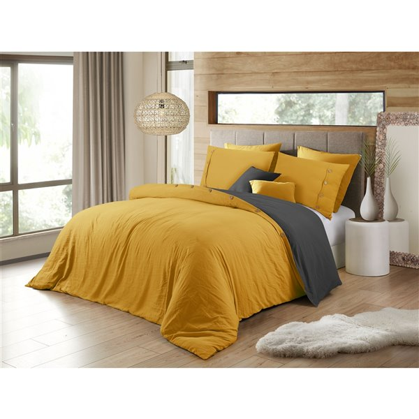 Swift Home Reversible Mustard King Duvet Cover Set - 3-Pieces