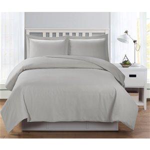 Ensemble de housse de couette gris clair grand lit par Swift Home, 3 mcx