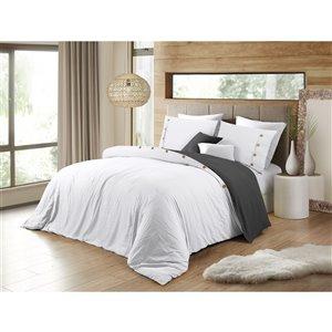 Ensemble de housse de couette réversible blanc grand lit par Swift Home, 3 mcx