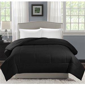 Couette en polyester avec rembourrage en polyester noir uni, très grand lit, par Swift Home