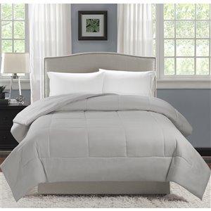 Couette en polyester avec rembourrage en polyester gris clair uni, lit une place, par Swift Home