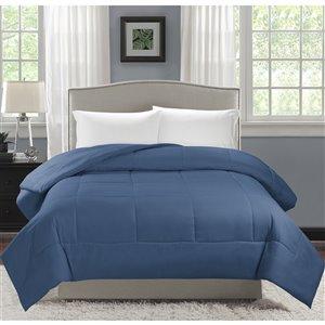 Couette en polyester avec rembourrage en polyester indigo uni, lit une place, par Swift Home