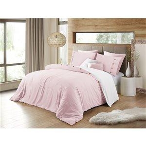 Ensemble de housse de couette rose pâle grand lit par Swift Home, 3 mcx