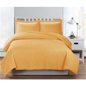 Ensemble de housse de couette moutarde très grand lit par Swift Home, 3 mcx