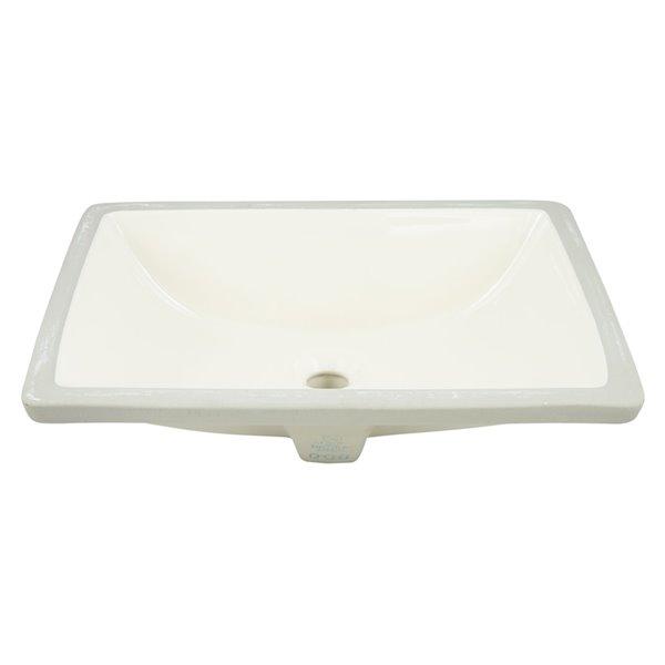 Ens. lavabo rectangulaire 14,35 po x 20,75 po, sous comptoir, céramique blanc crème de American Imaginations