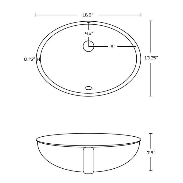 Ens. lavabo de salle de bains American Imaginations, sous comptoir, céramique blanche, 13,25 po x 16,5 po