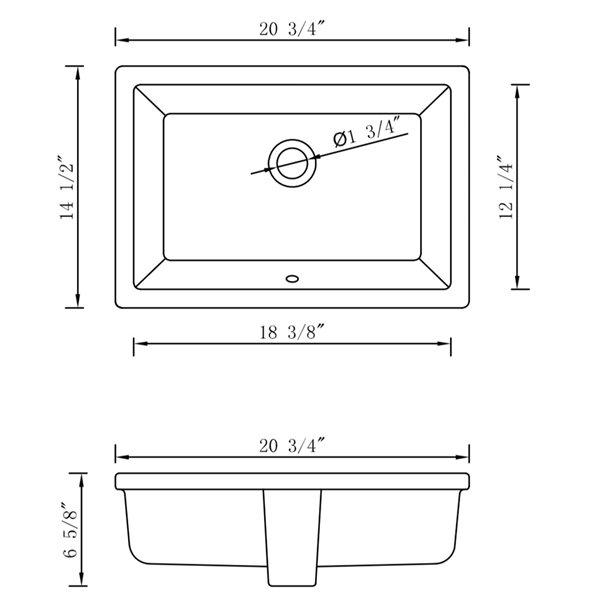 Ens. lavabo rectangulaire 14,5 po x 20,75 po, sous comptoir, céramique blanche/or de American Imaginations