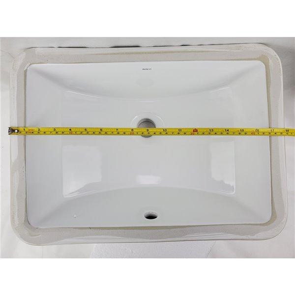 Lavabo de salle de bains sous comptoir en céramique blanche de 13 po x 18 po de American Imaginations