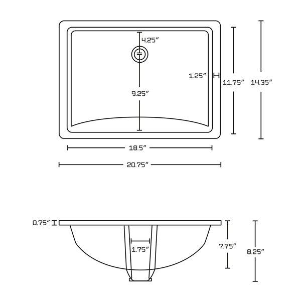 Ens. lavabo sous comptoir rectangulaire en céramique blanche 14,35 po x 20,75 po, de American Imaginations