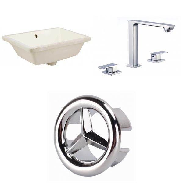 Ens. lavabo sous comptoir en céramique crème 13,5 po x 18,25 po de American Imaginations