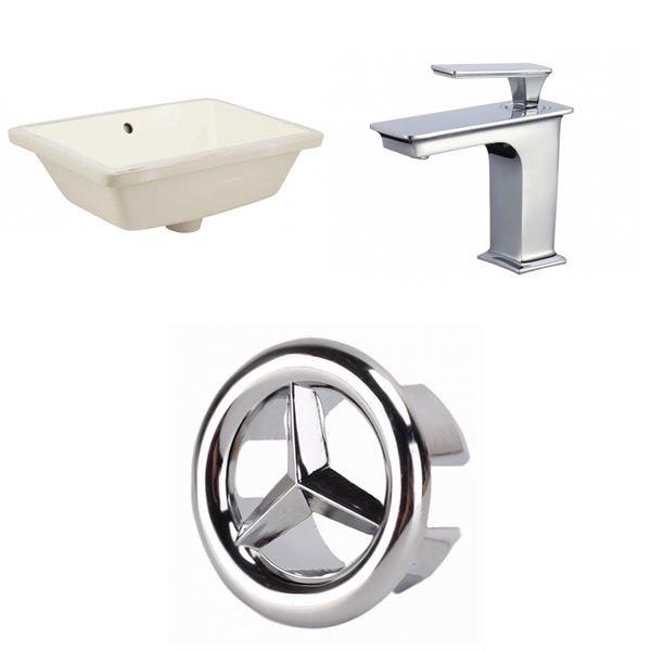 Ens. lavabo sous comptoir en céramique biscuit/chrome 13,5 po x 18,25 po de American Imaginations