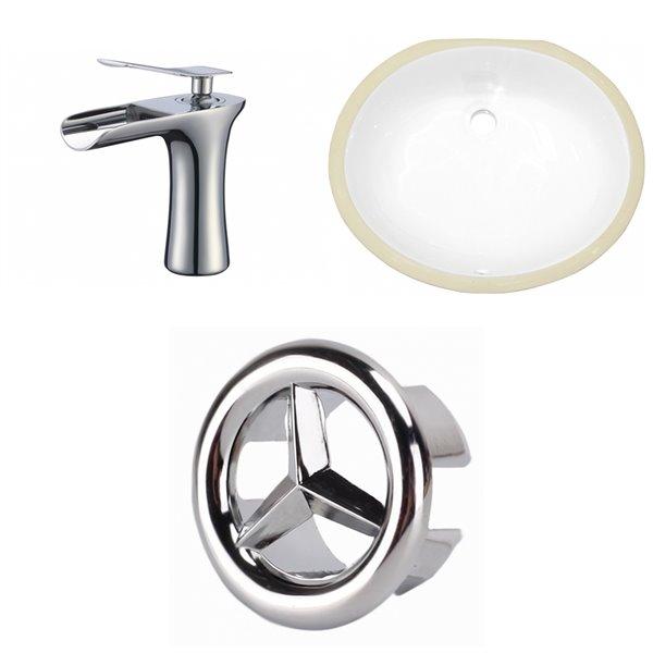Ens. lavabo blanc en céramique, sous comptoir, 13,25 po x 16,5 po de American Imaginations