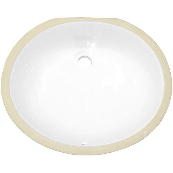 Lavabo ovale et robinet sous-comptoir en céramique d'American Imaginations avec drain pour trop-plein, 13,25 po x 16,5 po, blan