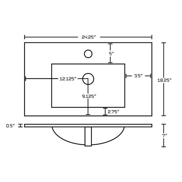 Dessus de meuble-lavabo simple en argile réfractaire/émail/chrome Roxy par American Imaginations, 24,25 po, blanc