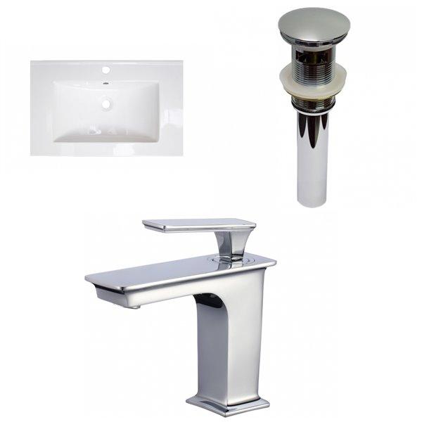 Dessus de meuble-lavabo simple en argile réfractaire et émail Roxy d'American Imaginations, 24,25 po, blanc