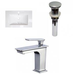 American Imaginations Roxy 24.25-in White/Enamel Glaze Fire Clay Single Sink Bathroom Vanity Top