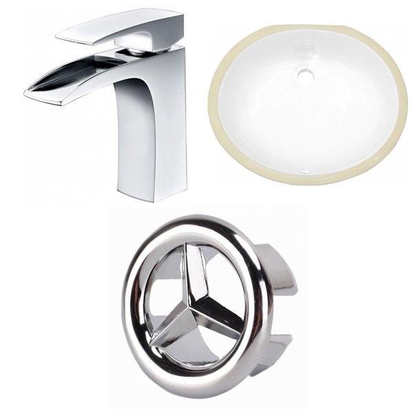 Lavabo ovale sous-comptoir en céramique et robinet avec drain pour trop-plein d'American Imaginations, 13,25 po x 16,5 po, blan