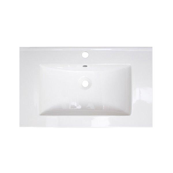 Dessus de meuble-lavabo simple en argile réfractaire/émail Roxy d'American Imaginations, 32 po