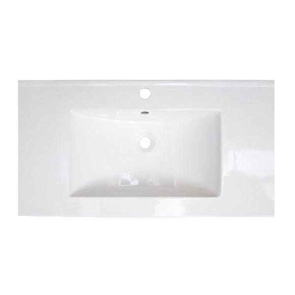 Dessus de meuble-lavabo simple en céramique moderne Flair d'American Imaginations, 32 po, blanc