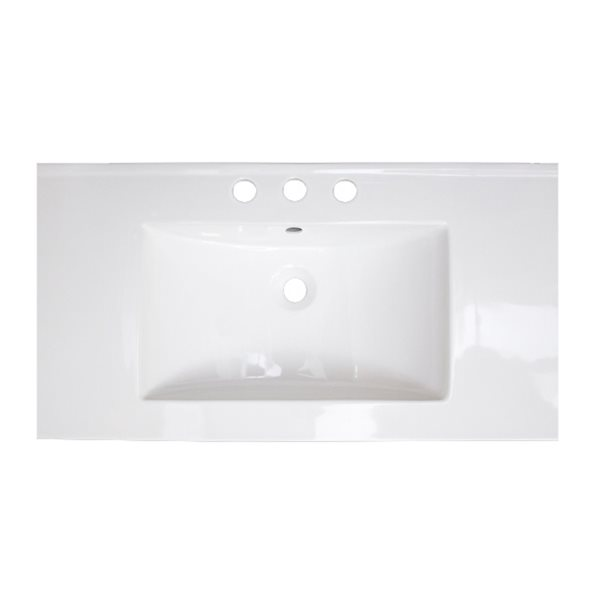 Dessus de meuble-lavabo simple en argile réfractaire/émail Flair d'American Imaginations, 32 po, blanc