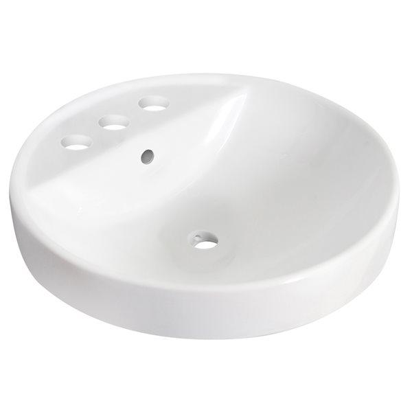 Lavabo rond encastré en céramique avec drain pour trop-plein d'American Imaginations, 18, 25 po x 18,25 po, blanc