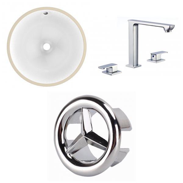 Lavabo rond sous-comptoir avec robinet et drain pour trop-plein en céramique d'American Imaginations, 15,25 po x 15,25 po, blan