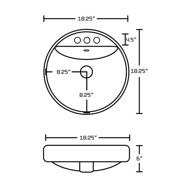 Lavabo rond encastré en céramique avec drain pour trop-plein d'American Imaginations, 18, 25 po x 18,25 po, blanc/nickel