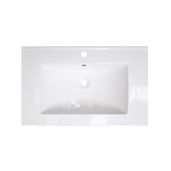 Dessus de meuble-lavabo simple en argile réfractaire Roxy d'American Imaginations, 24,25 po, blanc et nickel brossé