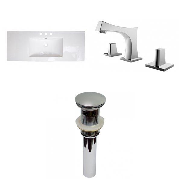 Dessus de meuble-lavabo simple transitionnel en argile réfractaire d'American Imaginations, 39,75 po, blanc
