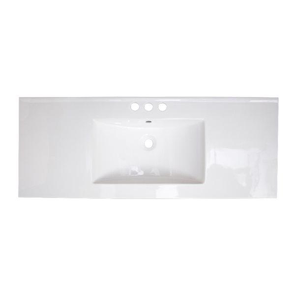 Dessus de meuble-lavabo simple rectangulaire en argile réfractaire Flair d'American Imaginations, 48,75 po, blanc